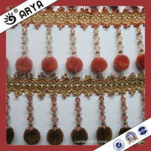 Pompom curtain polyester fringe hanging long beads ,curtain beads pompom fringe