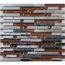 Strip Glass Mix Stainless Steel Mosaic (CFM876)