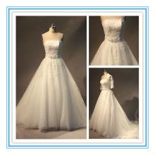 Magnífico Strapless Appliqued Tulle princesa vestidos de novia para mujer gorda (AC-1256)
