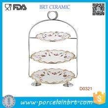 3 яруса керамический держатель свадебный торт с strainless стального ручка