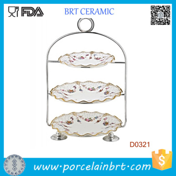 3 Tiers Ceramic Wedding Cake Holder with Strainless Steel Handle