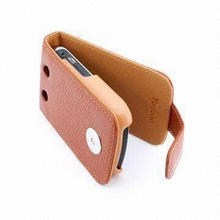 Genuine Brown Leather Mobile Phone Case for RIM's Blackberry 9700, with Magnetic Clip Closure