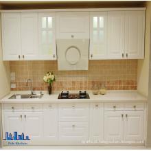 Pólo de estilo linear de PVC branco armário de cozinha