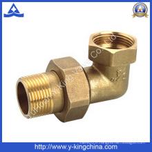 Raccord de tuyau de raccord de laiton de 90 degrés avec boutons de compression (YD-6039)