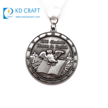 High quality custom metal zinc alloy die casting doming 3d antique silver finish catholic pendant medal