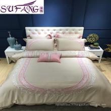 Ensembles de couverture de lit de broderie de tissu de 100% Tencel, ensemble en gros de literie d'hôtel