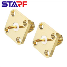 STARF 50ohm Straight female Solder Cup 4 Holes Flang SMA Connector
