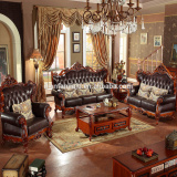 Luxury geniune leather chesterfiled sofa modern style design