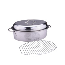 Roasting pan stainless steel with rack and lid
