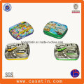 Custom Small Rectangular Heded Lid Mint Candy Tin Packaging Box