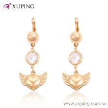 Forme la perla elegante pendiente en forma de corazón de la perla de la joyería en forma de corazón con CZ -24758