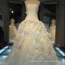 Stunning sweetheart strapless drapejado organza varredura trem vestidos de noite de casamento