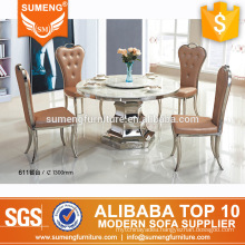 european style marble top stainless steel round dining table base