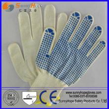 Односторонняя ПВХ-пунктирная Природная вязаная хлопчатобумажная перчатка