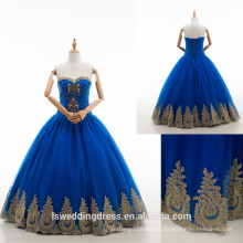 RP0190 De qualidade superior 100% real vestido bordado moderno vestido de noite vestido de ouro laço vestido de noite quinceanera vestidos vestido de bola