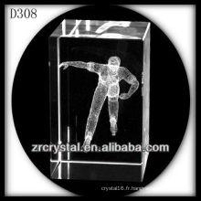 K9 3D Laser Patinage à l'intérieur du rectangle de cristal