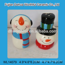 Ceramic salt and pepper container in snowman shape