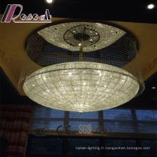 Lustre de cordes en cristal clair de lobby d'hôtel de style chaud