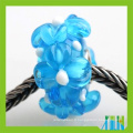 Style européen pavent des perles en verre de murano de fleur transparente pour faire des bracelets
