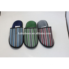 New men closed toe colorful stripe microfiber upper indoor slipper