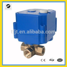 """3 vías DC12V L-flow 1/4 """"Válvula de bola mini motorizada de latón con anulación manual e indicador de posición"""