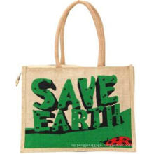 Customized String Shopping Bag Rope Handle Printed Logo Tote Jute Shopping Bag for Grocey