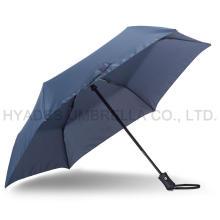Paraguas plegable azul marino resistente al viento 3