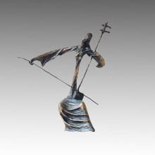 Escultura de bronce del este La estatua de cobre amarillo de la decoración de Erhu Tple-006