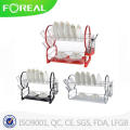 Coloful Coating Metal Wire 2-Tiers Compact Dish Rack