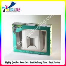 2015 El más nuevo diseño que dobla la caja cosmética con la ventana del PVC