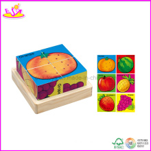 2014 Vente Chaude En Bois Bloc Cubique Puzzle pour Enfants avec Moins Cher Prix Usine W14f019