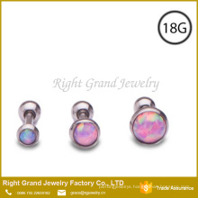 Synthetic Fire Opal Stainless Steel Helix Tragus Body Jewelry
