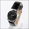 quartz movt embossed leather black watch men, low moq mens watches