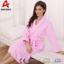 Atacado 100% algodão super macio mulheres sleepwear roupão de banho