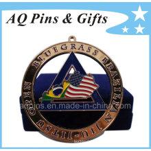 Medalha cortada personalizada com caixa de veludo