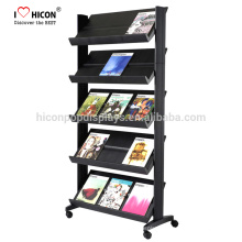Create Positive Shopping Experience Floor Stand Book Letuo Magazine Retail Metal Display Rack Store Shelf Display Unit On Wheels