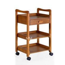 Mobiliario de salón Trolley de madera maciza con un cajón.