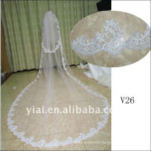 V26 Real Sample Long Beaded 2 Layer Lace wedding Veil 2012