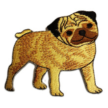 Söt Pug Breed Dog Appliques Broderade Patches