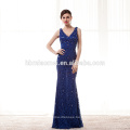 blue lace row of flowers perspective halter evening dress