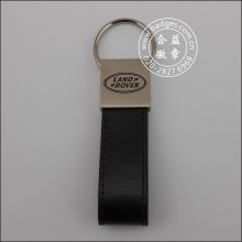 Leather Keychain, Metal Keyring with Engraved Logo (GZHY-KA-015)