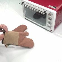 Wholesale bbq leather print baking microwave slip-resisitant gloves
