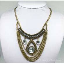 Стеклянный камень Анти-покрытие ожерелье цепь (XJW13789)
