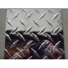 placa o bobina a cuadros de aluminio de la barra de diamante con la superficie del espejo