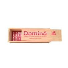 Conjunto personalizado de dominó vermelho de caixa de madeira