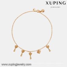 74947 Venta caliente de alta calidad joyería de la señora chapado en oro forma clave tobillera estilo simple con campana pequeña