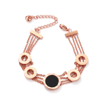Factory wholesale trendy multi layer adjustable gifts design roman numeral woman bangle bracelet