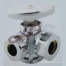 3-way brass angle supply valve