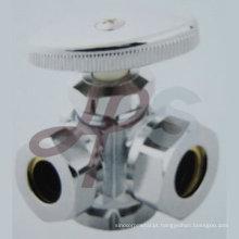 Válvula de fornecimento de ângulo de latão de 3 vias