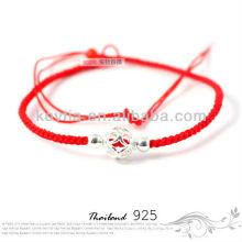 Мода дешевые серебряные украшения красный плетеные веревки браслет